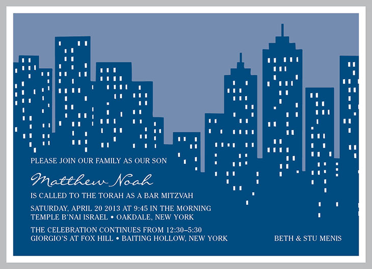 Mitzvah Market | Menis NYC Skyline Invitation