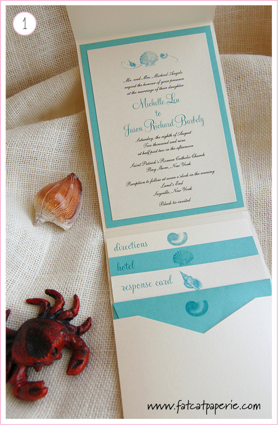 Shell Wave Invitation by Fat Cat Paperie