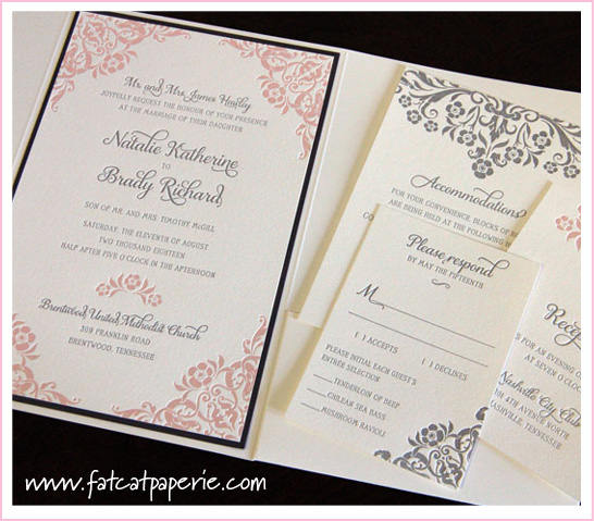 """Promise"" by Designer's Fine Press, Blush Pink Invitations"