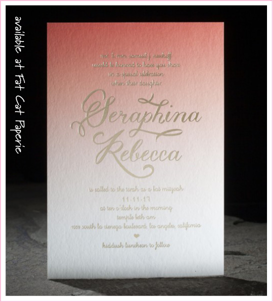 Amira by Smock, Ombre Mitzvah Invitation with Gold Foil Details