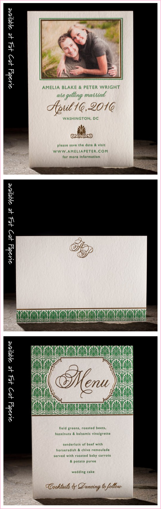 Emory by Smock, Vintage Save the Date, Thank You and Menu