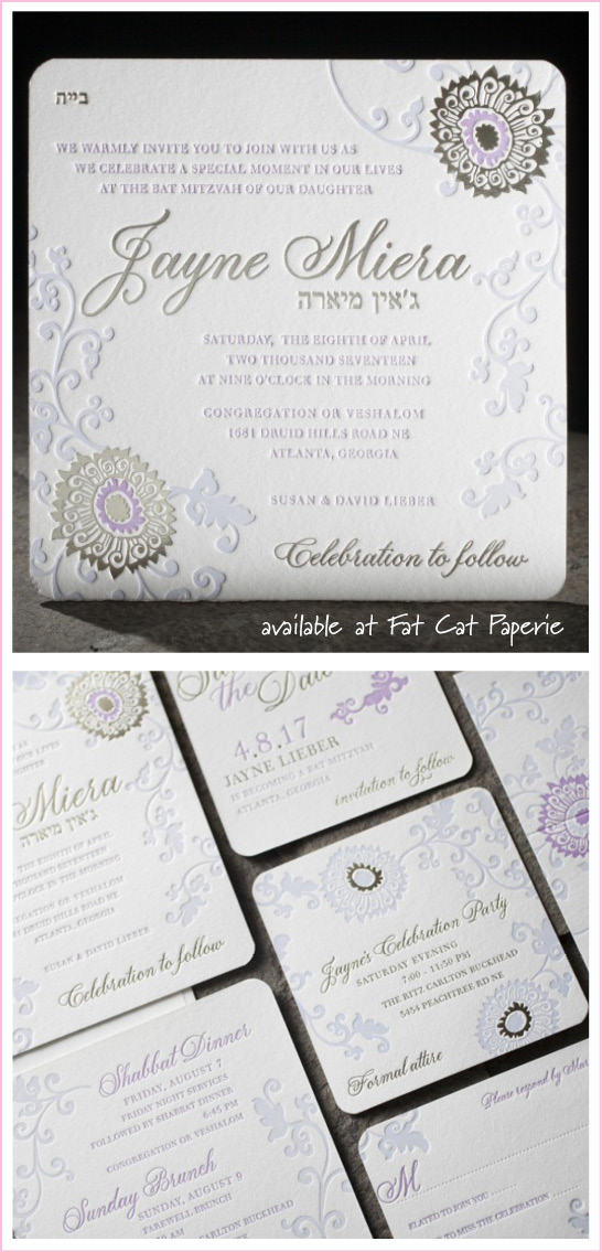 Finley by Smock, 3-ply Letterpress Invitation with Lavender Ink and Foil Floral Details