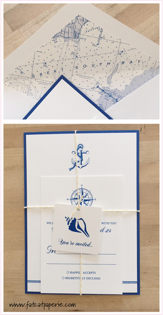 May 2015 Wedding, Melissa and Joseph, sea theme with twine and custom printed map envelope liner