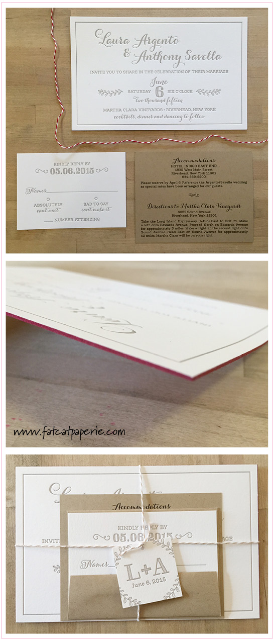 In the Spotlight: Winery Weddings | Laura + Anthony's Wedding, Letterpress Invitation with Twine, Red and Taupe