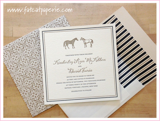 Winery Wedding, Kim and Dave, Smock letterpress with horse motif