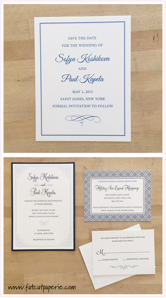 Sofya and Paul Wedding, Navy and Periwinkle letterpress invitation