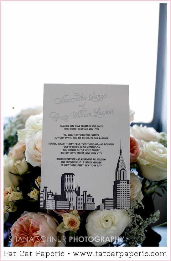 Real Wedding: Alexandra and Craig, NYC Skyline Invitation, Art Deco, Letterpress and Foil