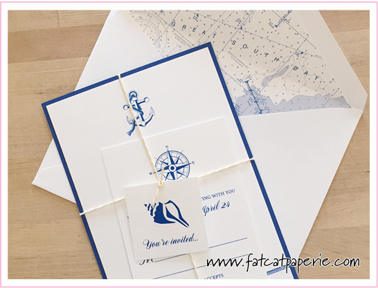 May Wedding, Melissa and Joseph, Sea Theme with printed envelope liner