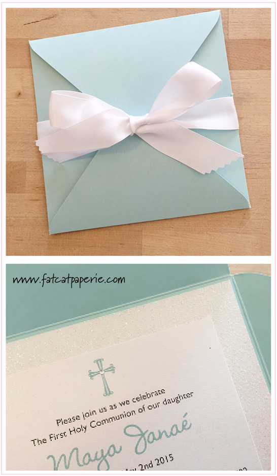 Maya's Communion, May 2015, Pocket invitation with bow and glitter paper