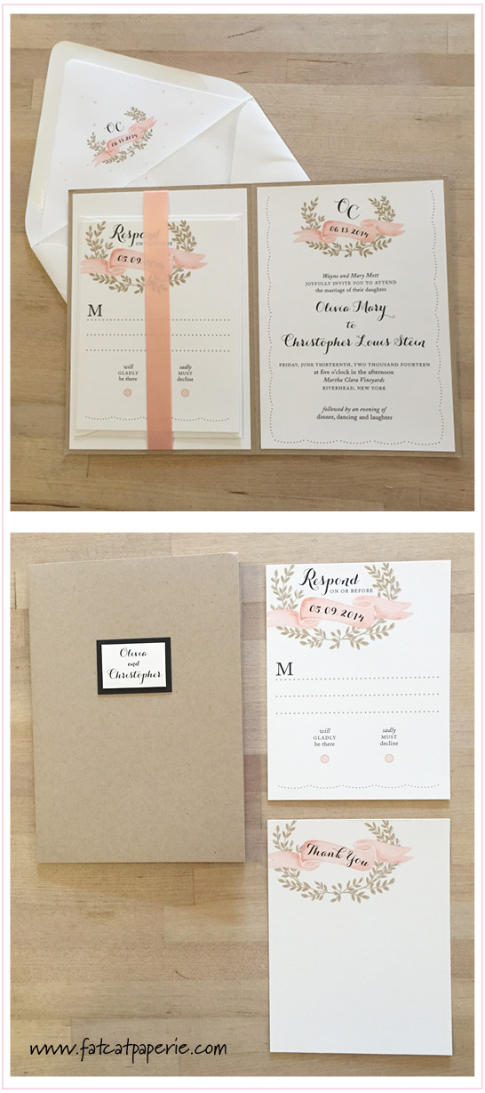 In the Spotlight: Winery Weddings , Olivia and Christopher, BTE folder invitation with ribbon, blush and kraft