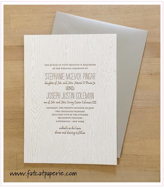 Winery Wedding: Stephanie and Joseph, Woodgrain texture, Elum letterpress