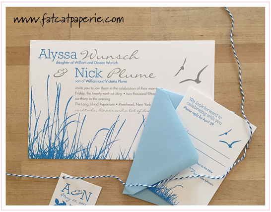 Alyssa and Nick, Sea Theme invitation with twine