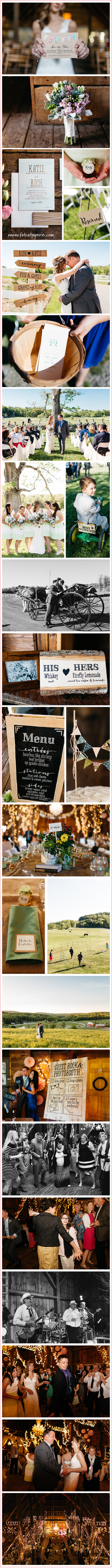 Real_Wedding: Katie and Rich | Photos of a rustic barn wedding — invitations, bunting, favor tags, flowers etc.