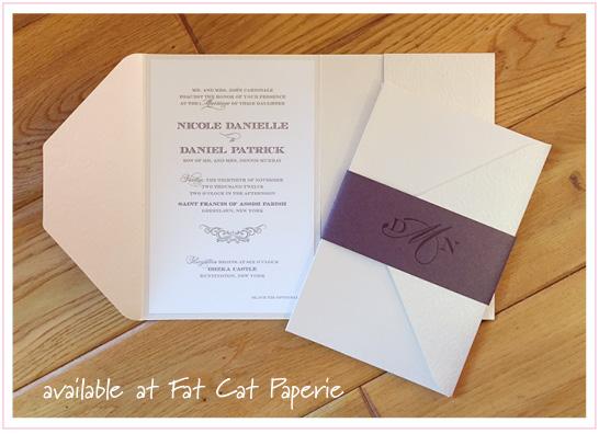 Nicole + Daniel Wedding Invitation | Fat Cat Paperie | Letterpress Pocket for Oheka Castle Wedding