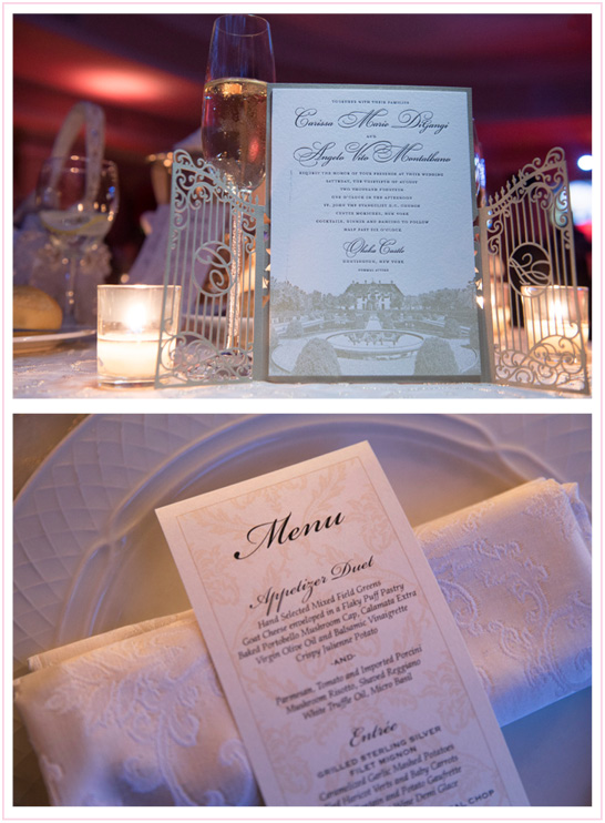 Oheka Castle is in the Spotlight | Carrissa and Angelo | Invitation and Menu | Photo credit: Sheri from Brett Matthew's Photography