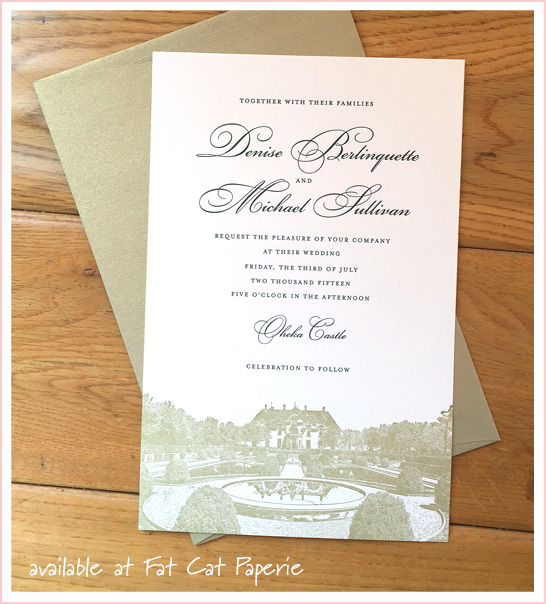 Denise + Mike   Celebrating July   Gold letterpress invitation for Oheka Castle