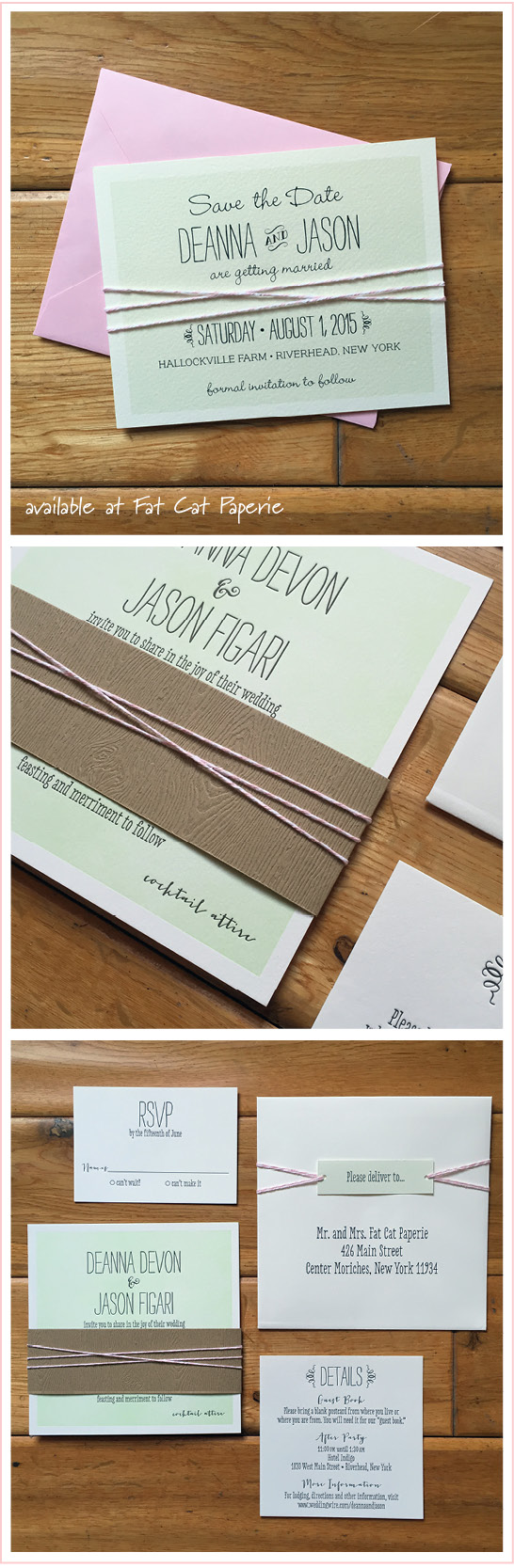 Celebrating August   Deanna + Jason   Mint and Pink Invitation with woodgrain bellyband and twine
