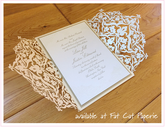 Lisa and Justin | Alyssa Pocket by Spark Letterpress | Gold and Ivory Lasercut Invitation for Oheka Castle Wedding