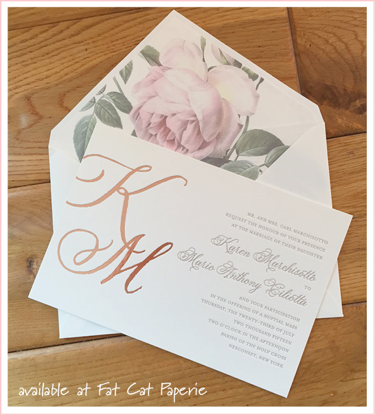 Karen + Mario | Celebrating July | Letterpress and rose gold foil invitation with floral liner