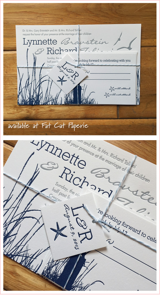 Celebrating August   Lynnette + Richie   Letterpress Sea-themed Invitation with Twine