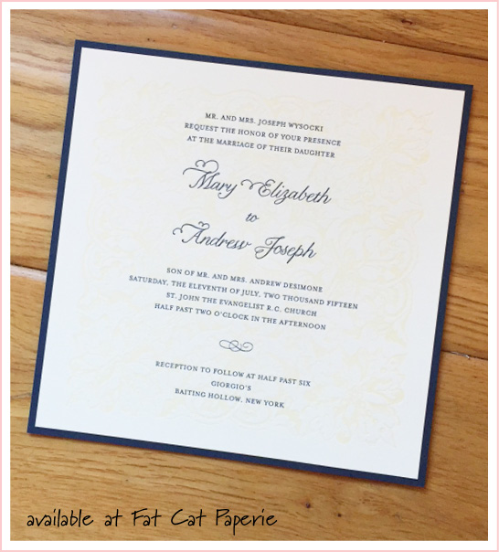 Mary + Andrew | Celebrating July | Letterpress invitation, navy and ivory by Designer's Fine Press