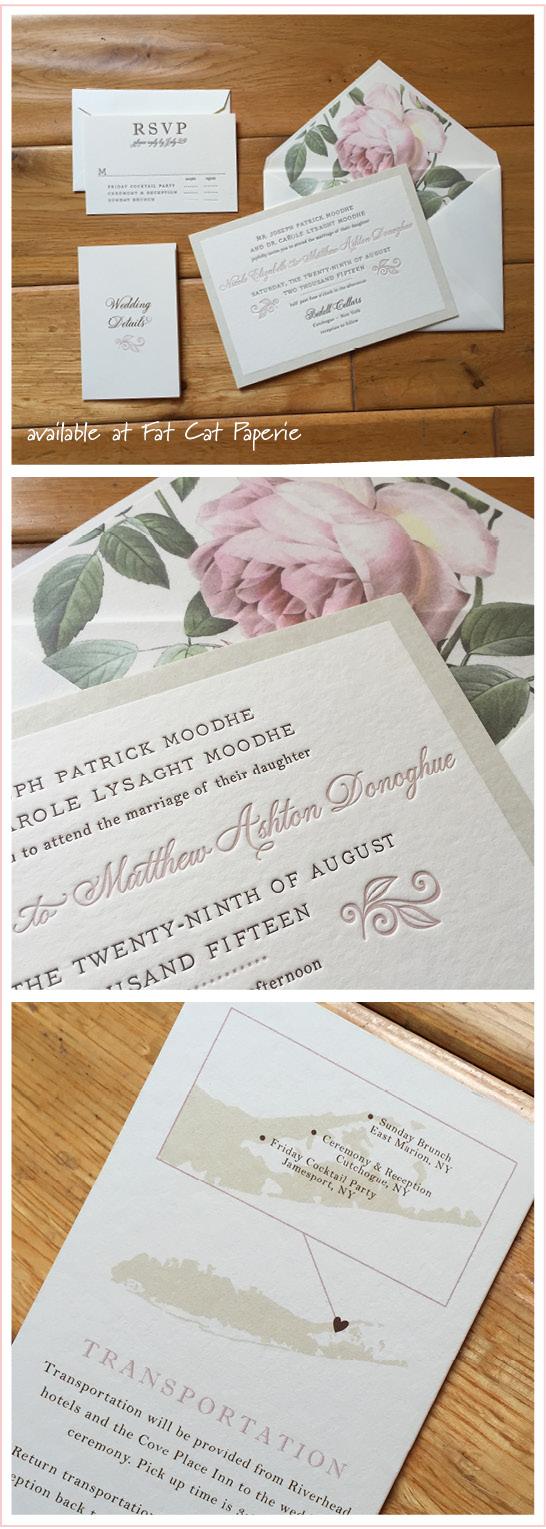 Celebrating August   Nicole + Matthew   Blush Floral Letterpress Invitation