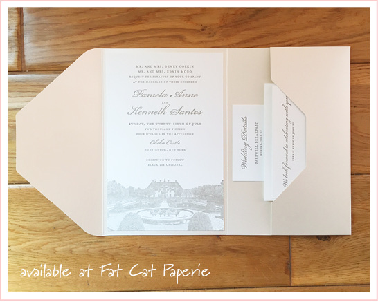 Pamela + Kenneth | Ivory and taupe letterpress, pocket invitation printed by Spark, Oheka Castle wedding