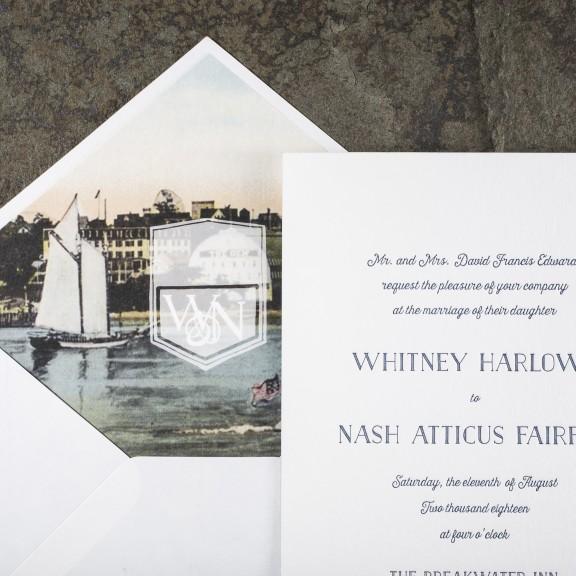 Smock Prescott | Nautical Invitation with Illustration on Envelope Liner
