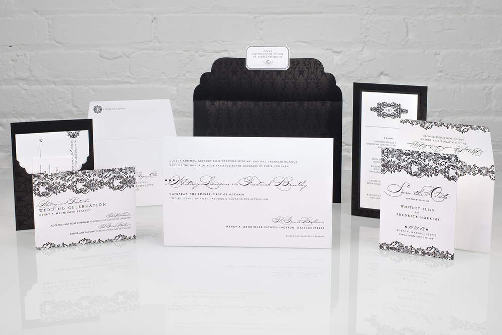 Fall Promotion | Spark, Whitney | Black and White Letterpress Invitation with Crystals