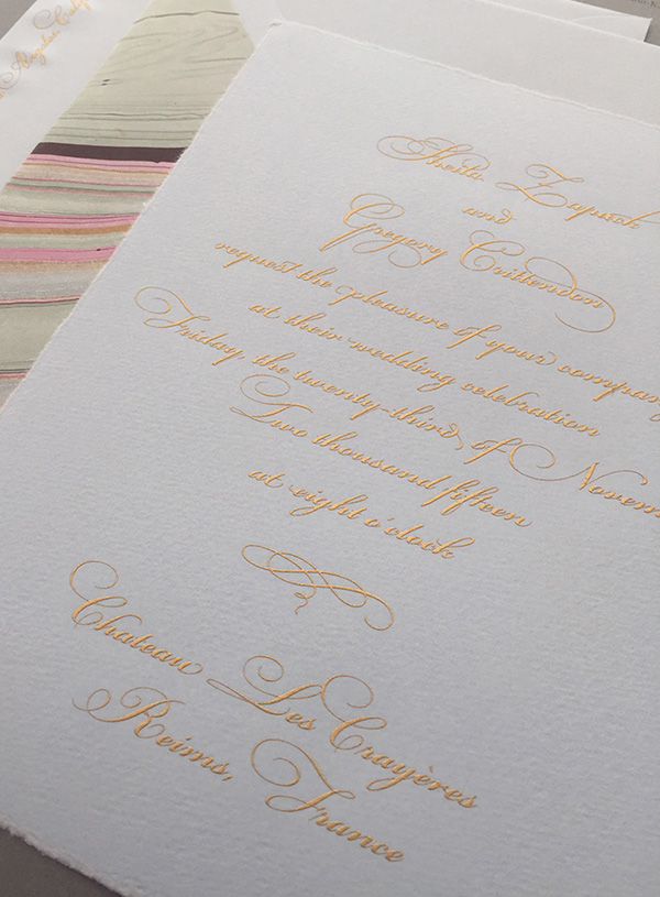 Arzberger Engraved Wedding Invitation, Gold Engraving on Textured Blue Paper with Hand-torn Edge, Save 10% until January 2016