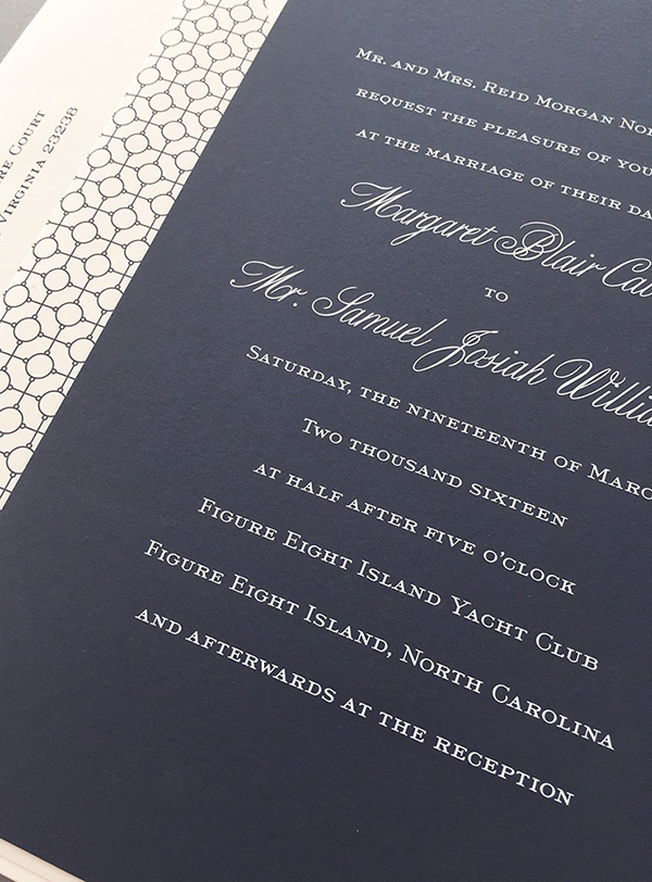 Arzberger Wedding Invitation | White and Navy Engraved with Patterned Envelope Liner