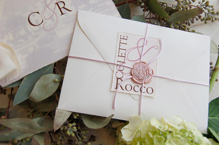Colette+Rocco by Fat Cat Paperie, Wax seal wedding invitation booklet