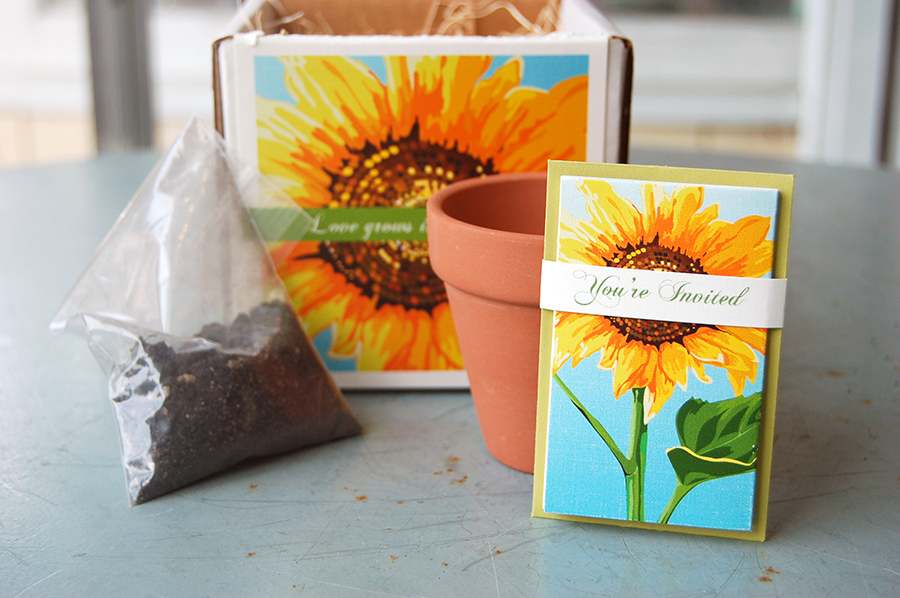 """""""Love Grows in Brooklyn"""" by Fat Cat Paperie, Couture invitation, sunflower design with flower pot and seeds, rustic style"""