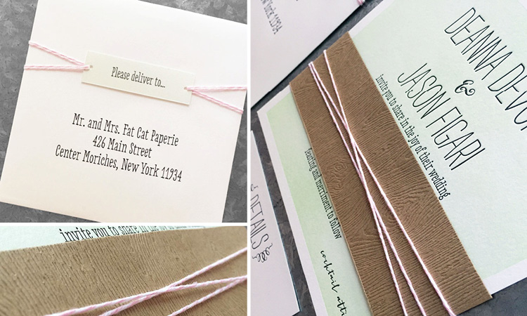 Deanna and Jason, Letterpress and Woodgrain Invitation