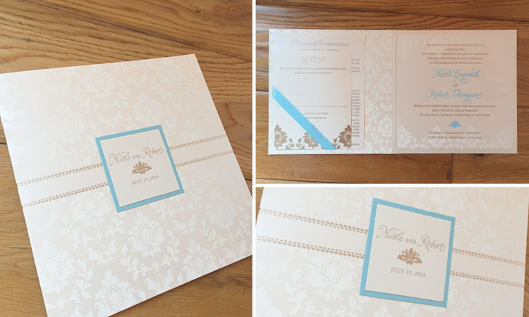 Nicole and Robert, Damask Pocket Invitation