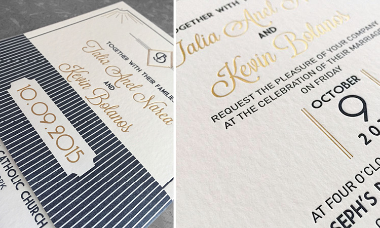 TALIA and KEVIN's gold foil invitation