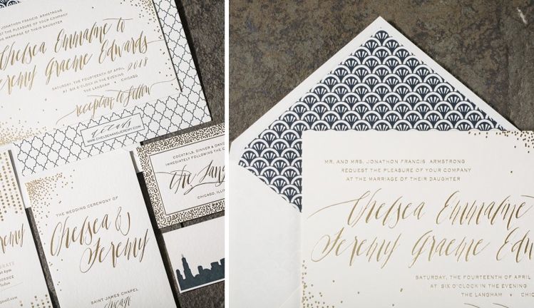 Gold Foil Invitations with Hand-drawn font