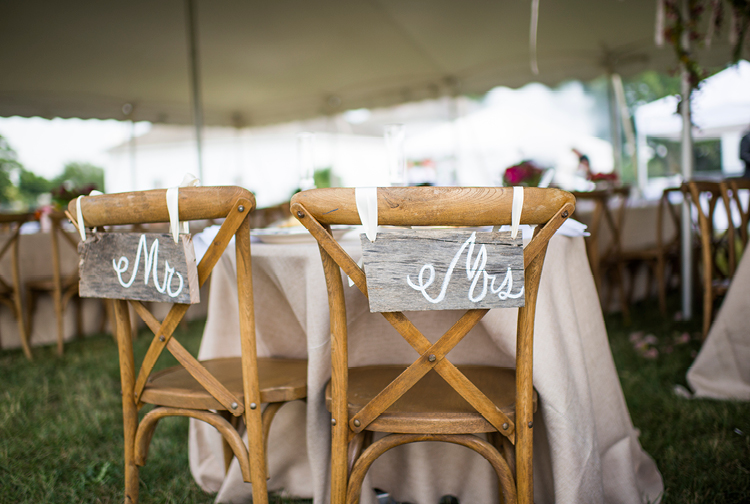 Barn Wedding | Mr. and Mrs. Chair Signs