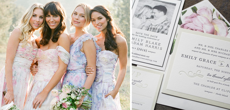 Happy Sweet 2016 | Floral Bridesmaid Dresses and Invitations