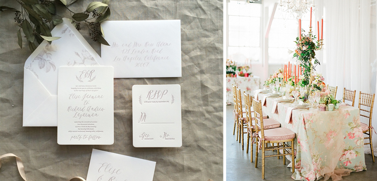 Floral Invitations and Table Linens