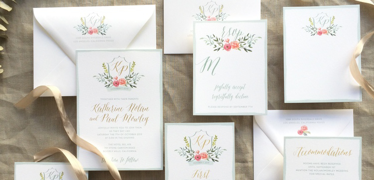 Floral Wedding Invitations with Gold Monogram