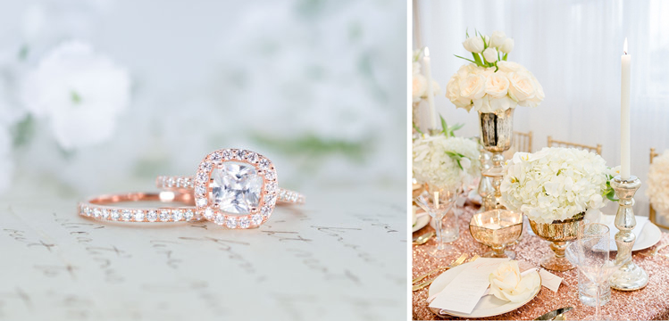 Rose Gold Engagement Ring and Glitter Linens