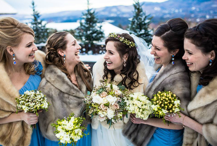 Winter Weddings | Fur Shawl, Bride and Bridesmaids