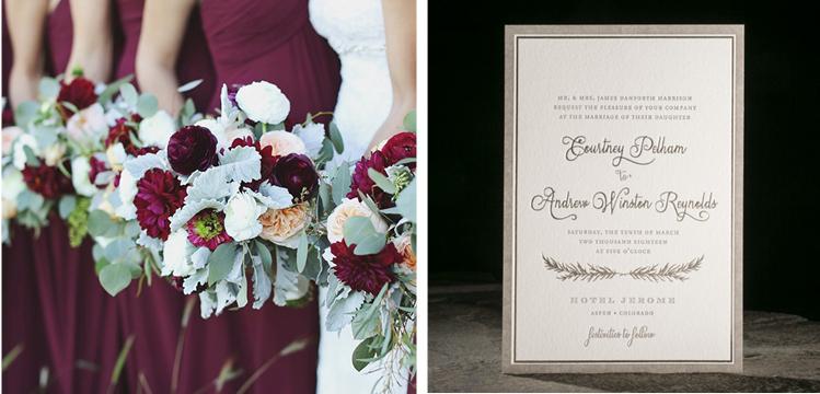 Winter Weddings | Cranberry Dresses and Platinum Invitation