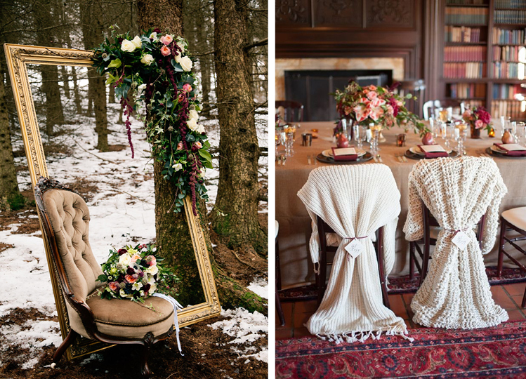 Wintery Florals and Cozy Sweater Reception Details