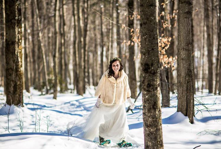 Bride in Snowshoes