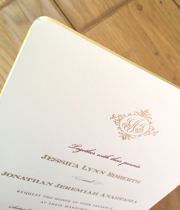 Jessica+Jonathan, Fat Cat Paperie, Formal Invitation, Gold Beveled Edge, Engraving