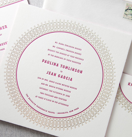 Kensington by Dauphine, Fuchsia and Gold, Classic Invitation