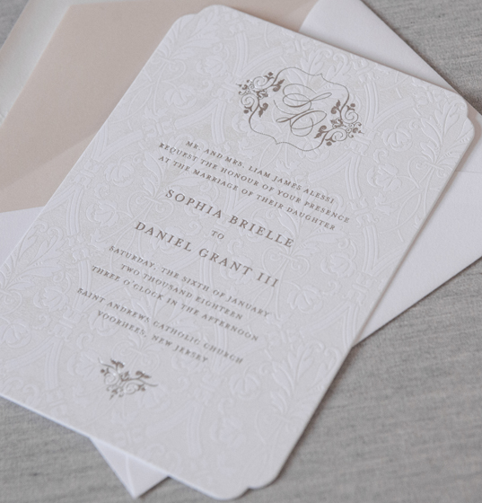 Princeton by Dauphine | Formal Invitation, Pearl Foil and Silver, Diecut, Blush
