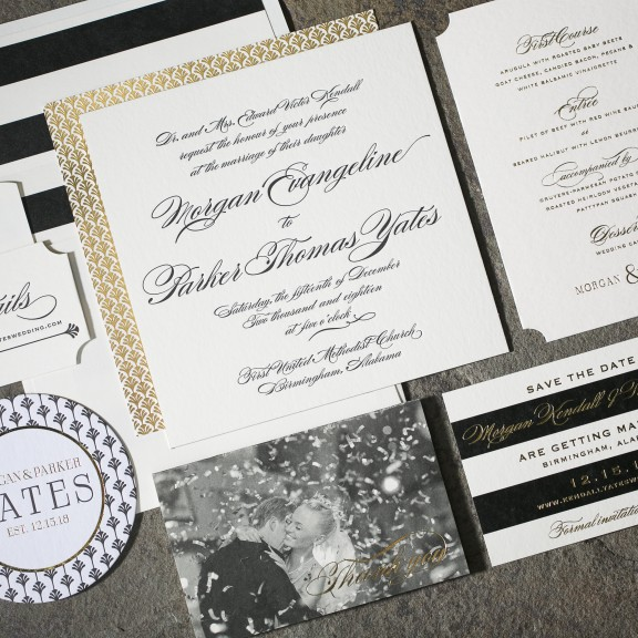 Sutherlin by Smock | Formal Invitation, Deco Details, Foil and Letterpress, Photo Thank You Note